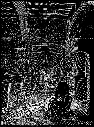 "M.C. Escher, ""Scholastica (Bad Dream)"", 1932, woodcut, available at Atlanta art gallery Different Trains"