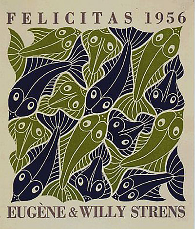 "M.C. Escher, ""Water, New Year's Greeting Card, 1955"", 1952, woodcut, limited-edition print, available at Different Trains, an Atlanta art gallery"