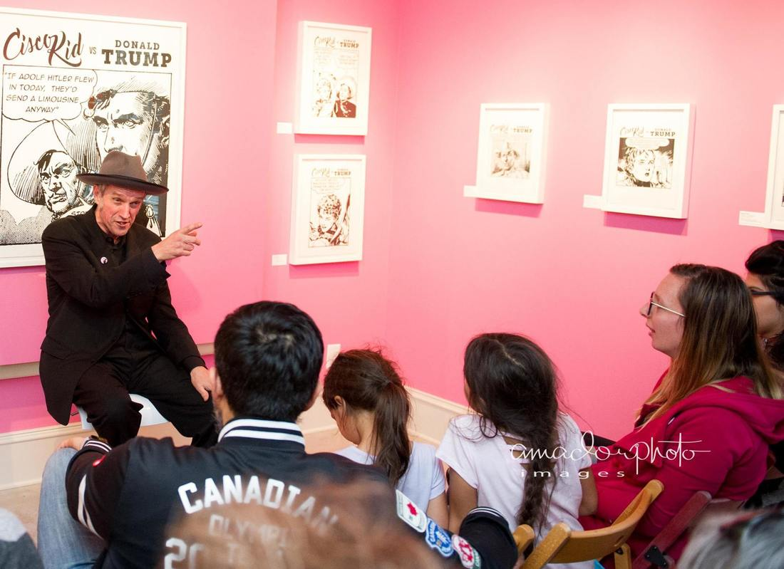 Kosmo Vinyl Artist Talk at Different Trains Gallery, January 2018, photo by Hector Amador, Atlanta art gallery
