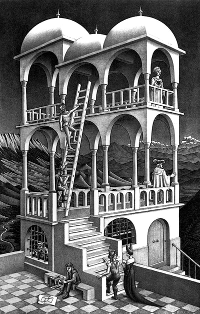 "M.C. Escher, ""Belvedere"", 1958, lithograph, 18.25 x 11.63 in., limited-edition, for sale at Atlanta art gallery Different Trains"