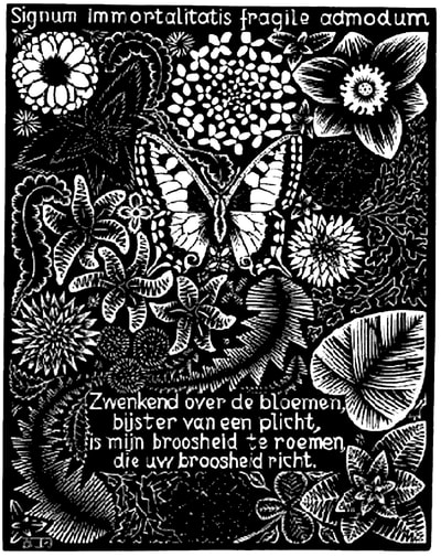 "M.C. Escher, ""Emblemata - Butterfly"", 1931, woodcut, limited-edition print available at Atlanta art gallery Different Trains"