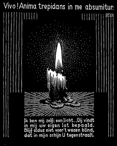 "M.C. Escher, ""Emblemata - Candle Flame"", 1931, woodcut, limited-edition print for sale by Different Trains Gallery, Atlanta/Decatur"