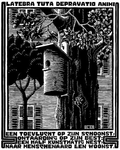 "M.C. Escher, ""Emblemata - Retreat"", 1931, woodcut, limited-edition print for sale by Different Trains, an Atlanta art gallery"