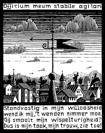 "M.C. Escher, ""Emblemata - Weather Vane"", 1931, woodcut, limited-edition print for sale by Atlanta art gallery Different Trains"