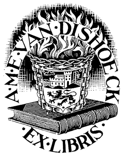 "M.C. Escher, ""Ex Libris (Bookplate)"", 1943, wood engraving, limited-edition print for sale by Different Trains art gallery, Atlanta/Decatur GA"