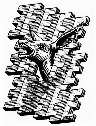 "M.C. Escher, ""E is for Ezel (Donkey)"", 1953, wood engraving, limited-edition print for sale by Atlanta art gallery Different Trains"