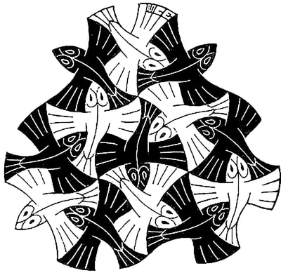 "M.C. Escher, ""Fish Vignette"", 1954, wood engraving, 3 x 3 1/4 in., limited-edition, initialed ""MCE"" in the plate top middle, for sale by Atlanta art gallery Different Trains"
