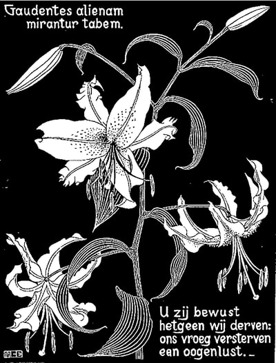 "M.C. Escher, ""Flowers, Lilies"", 1931, woodcut, limited-edition print for sale by Different Trains art gallery, Atlanta/Decatur GA"