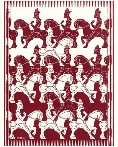 "M.C. Escher, ""Regular Division of the Plane V"" (Red), 1957, woodcut, for sale at Atlanta art gallery Different Trains"