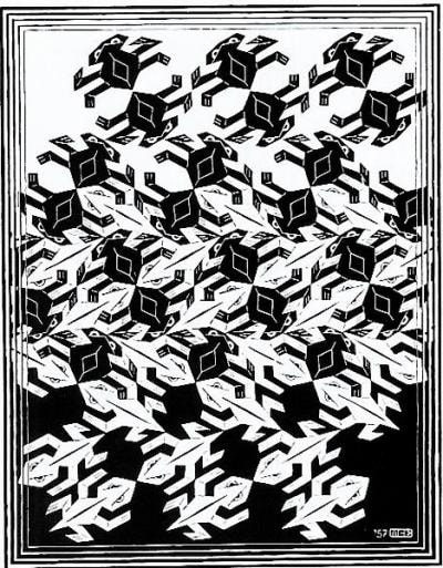"M.C. Escher, ""Regular Division of the Plane V"", 1957, woodcut, 9 1/2 x 7 1/8 in., limited-edition of 175, Catalogue Raisonné: Bool no. 420, available for purchase from Different Trains Gallery, an art gallery in Atlanta GA"