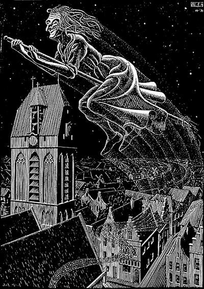 "M.C. Escher, ""Scholastica (Flying Witch)"", 1931, woodcut, 9 x 6 5/8 in., from the intended (and uncompleted) limited-edition of 300, for sale by Atlanta art gallery Different Trains"