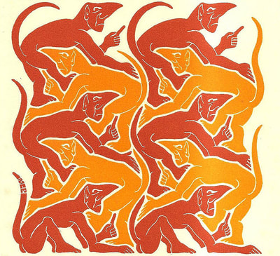 "M.C. Escher, ""Fire"", 1955 New Year's greeting card, woodcut in yellow & orange, 6 1/8 x 5 3/4 in. limited-edition, initialed ""MCE"" in the plate lower left, catalogue raisonné: Bool #384, © The M.C. Escher Company B.V.  Here, devils represent 'Fire', one of the four ancient elements of all creation (the others being Earth, Water & Sky)., for sale by Atlanta art gallery Different Trains"
