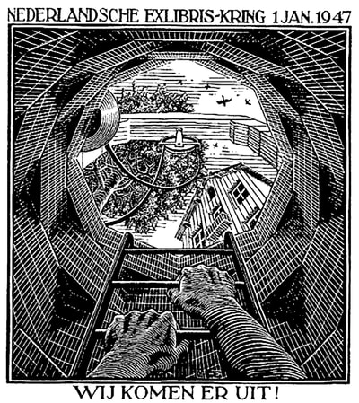 "M.C. Escher, ""The Well"", 1946, wood engraving, limited-edition print for sale at Atlanta Art Gallery Different Trains"