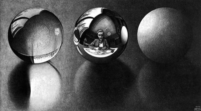 "M.C. Escher, ""Three Spheres II"", 1946, lithograph, Hand-Signed, limited-edition print for sale at Different Trains art gallery in Atlanta GA"