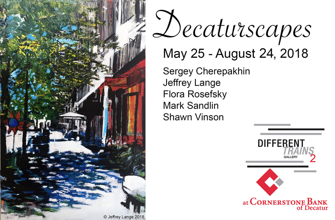 Decaturscapes exhibition at Different Trains Gallery, an Atlanta art gallery with two locations in Decatur GA