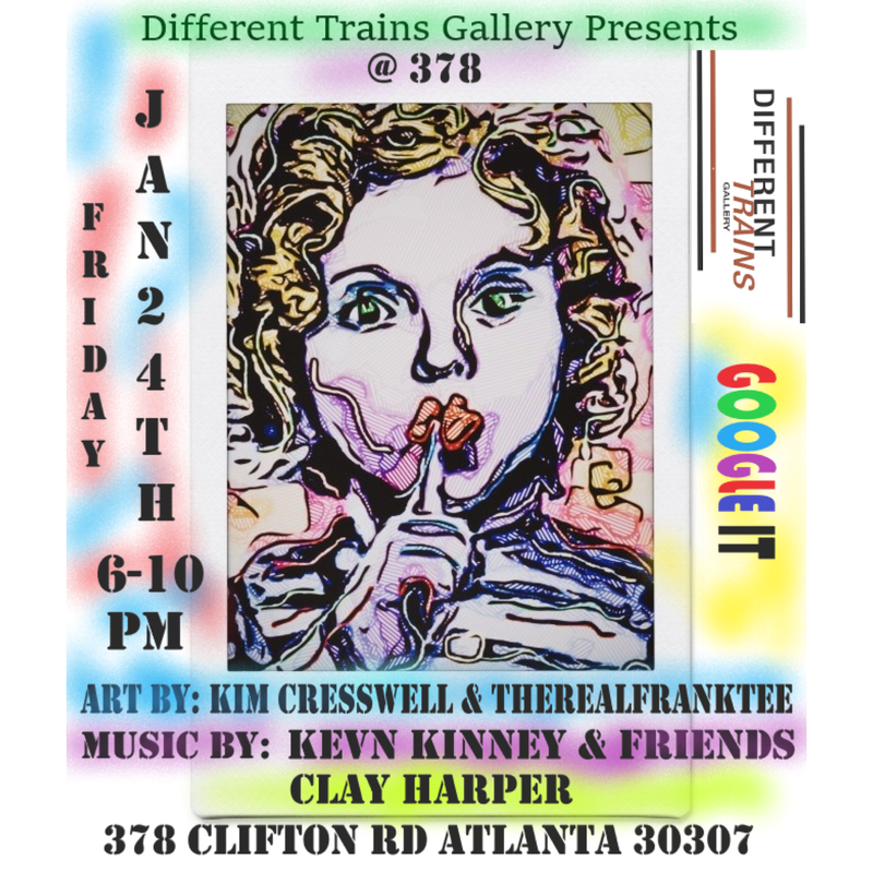 Different Trains Gallery presents at 378: Art by The Real Frank Tee and Kim Cresswell plus live music by Kevin Kinney and friends and Clay Harper, Friday, 24 January 2020, 7-10PM, Atlanta