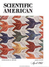 Scientific American cover from 1961 featuring M.C. Escher
