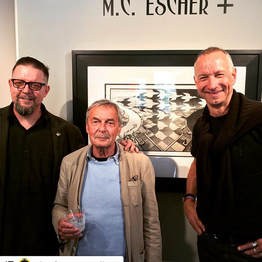 Shawn Vinson with Erno Rubik and Skot Foreman at Different Trains art gallery in Atlanta