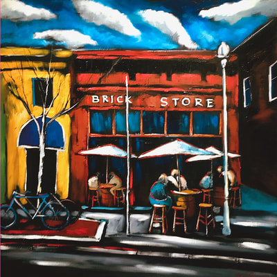"Sergey Cherepakhin, ""Brick Store Pub, Decatur, Georgia"", 2018, oil on canvas, original painting for sale by Atlanta art gallery"