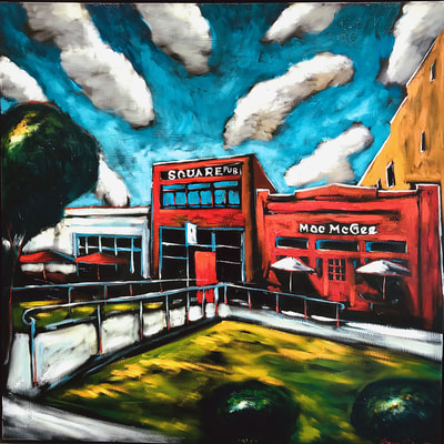 "Sergey Cherepakhin, ""Mac McGee's & the Square Pub, Decatur, Georgia"", 2018, oil on canvas, painting for sale by Atlanta art gallery Different Trains"