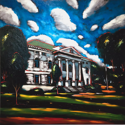 "Sergey Cherepakhin, ""Old Courthouse on the Square, Decatur, Georgia"", 2018, oil on canvas, painting for sale by Atlanta art gallery"